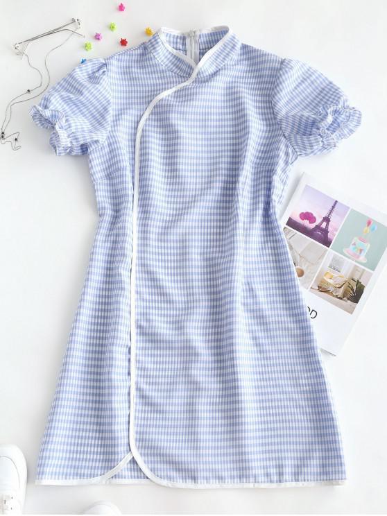 women's ZAFUL Plaid Puff Sleeve Oriental Cheongsam Dress - LIGHT BLUE M