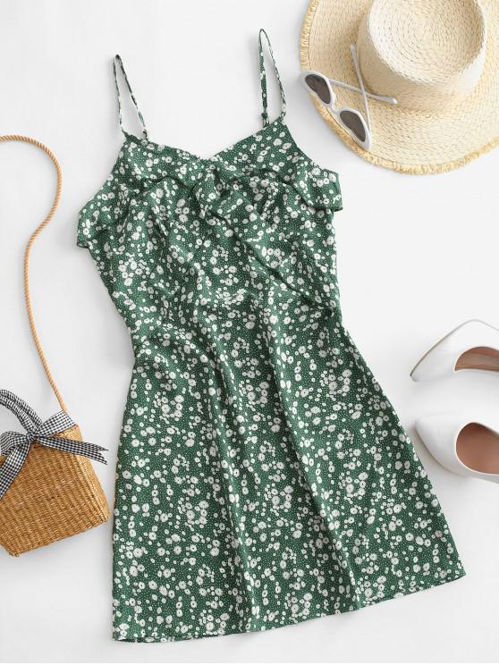hot ZAFUL Ruffles Ditsy Floral Cami Mini Dress - SHAMROCK GREEN S