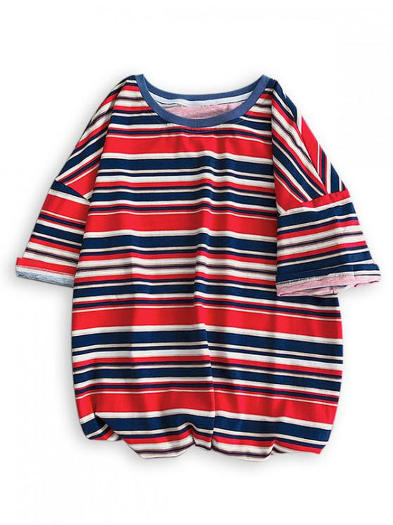 womens Colorful Striped Printed Casual T-shirt - RED 2XL