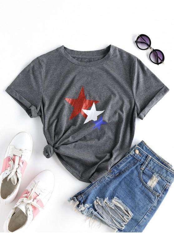 shop ZAFUL Star Print Cuffed T-shirt - CLOUDY GRAY S