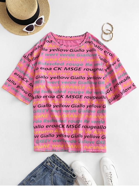 Camisola solta de letra ombro da gota - Rosa XL