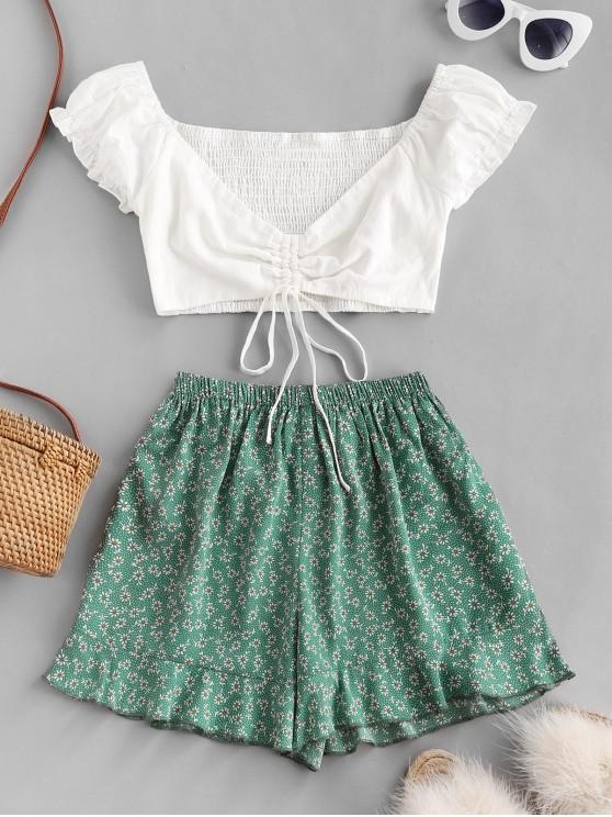 lady Ditsy Print Cinched Ruffle Loose Shorts Set - CLOVER GREEN S
