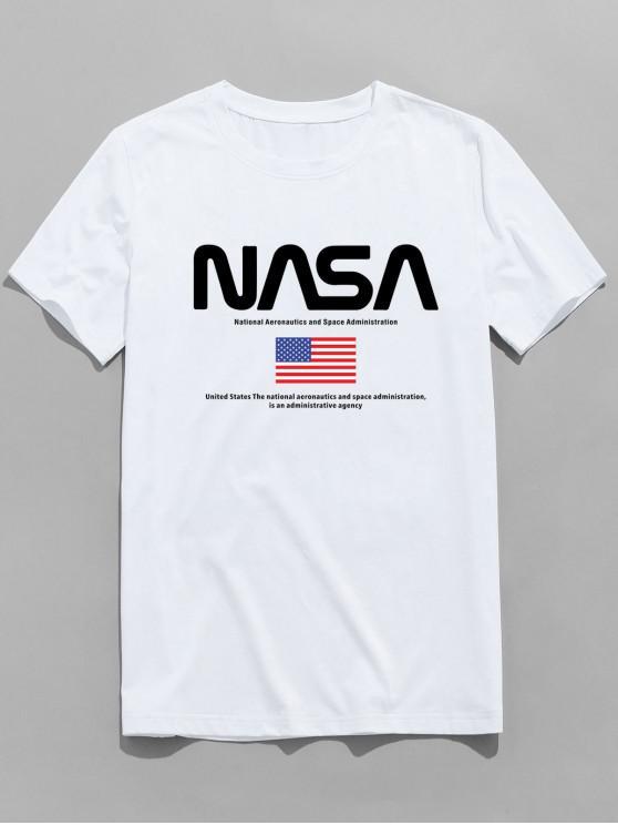 ZAFUL Camiseta Gráfica con Estampado de Bandera de Estados Unidos - Blanco L