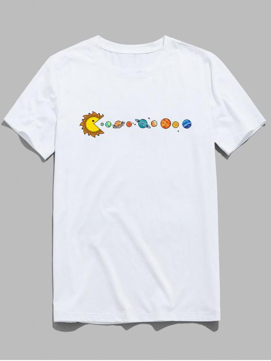 lady ZAFUL Planet Printed Short Sleeves T-shirt - WHITE S