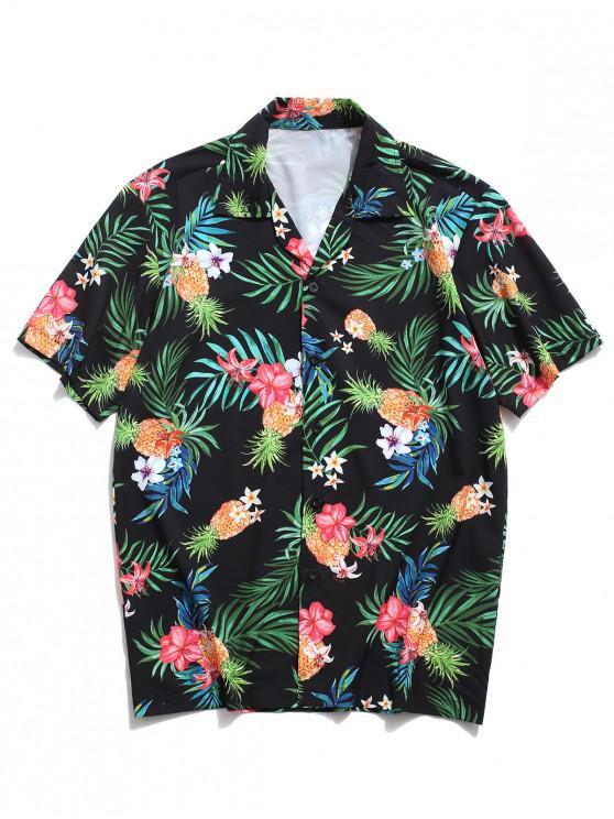 Camisa con Estampado de Hojas Tropicales - Negro S
