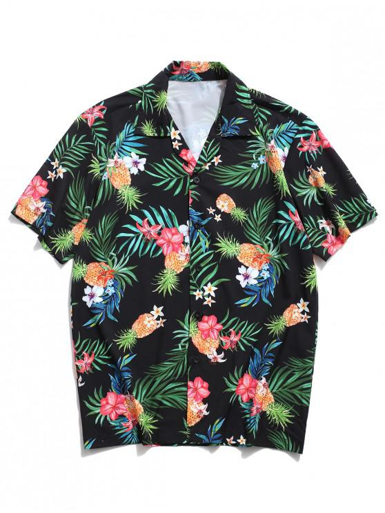 outfits Tropical Leaf Floral Pineapple Print Vacation Shirt - BLACK L