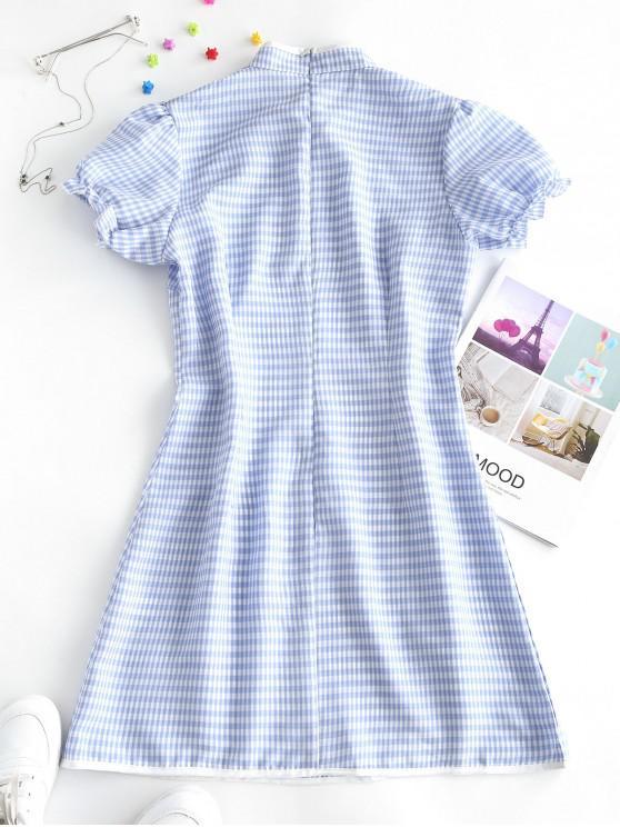 ZAFUL Plaid Puff Sleeve Oriental Cheongsam Dress - Light Blue Xl