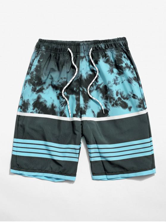 Striped Painting Printed Casual Shorts - ماكاو الأزرق الأخضر XS