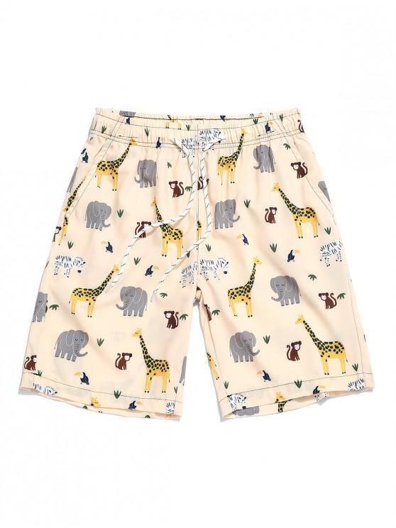 Cartoon Animal Printing Drawstring Shorts - الأبيض الدافئ M