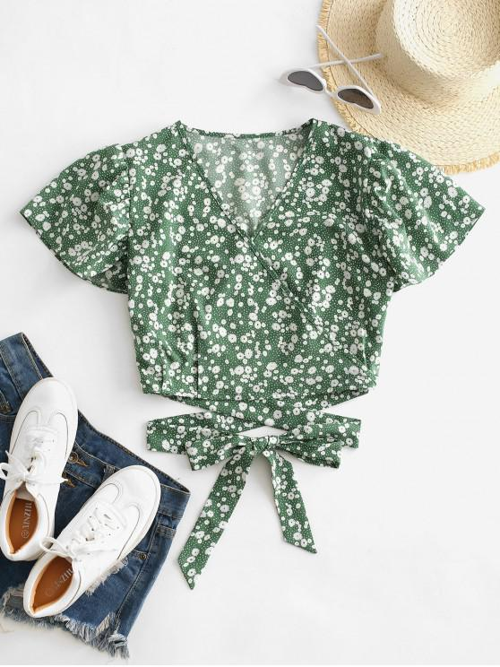 shops Ditsy Print Surplice Tie Hem Crop Blouse - GREEN SNAKE S
