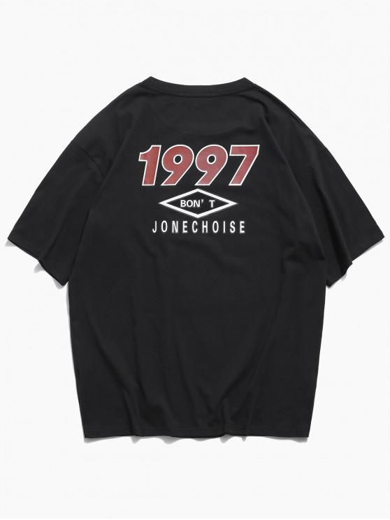 Camiseta Básica con Estampado de Letras - Negro M