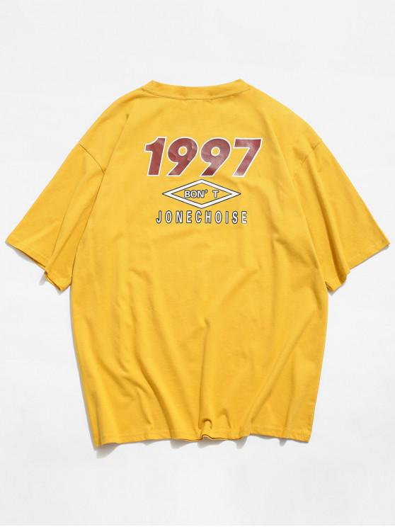 outfits Short Sleeve Letter Graphic Print Basic T-shirt - GOLDENROD 2XL
