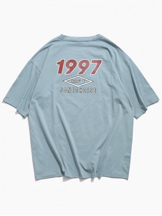 trendy Short Sleeve Letter Graphic Print Basic T-shirt - LIGHT BLUE 2XL