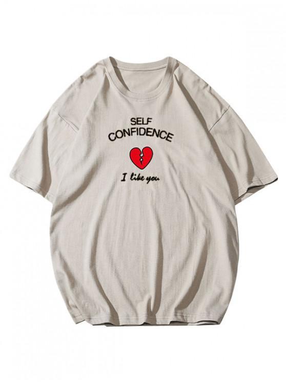Self Confidence Heart Graphic Basic T Shirt - ضوء الكاكي 3XL