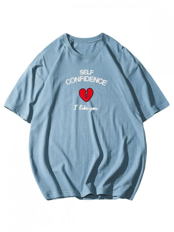 womens Self Confidence Heart Graphic Basic T Shirt - SILK BLUE 4XL