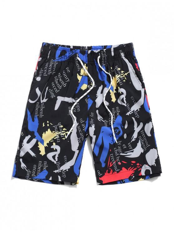Grafice Letter imprimate Pantaloni scurți cordon - Negru XL
