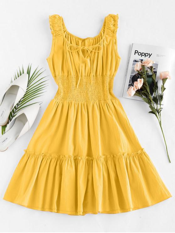 lady ZAFUL Smocked Ruched Mini A Line Dress - BEE YELLOW XL