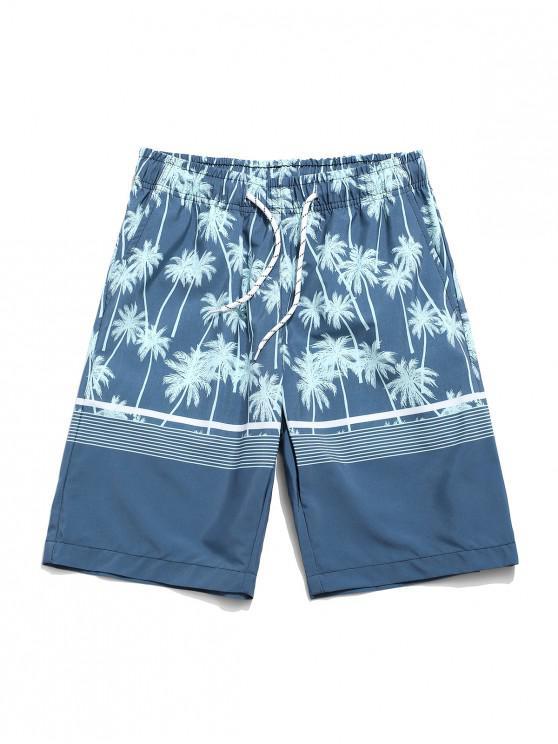 womens Coconut Tree Print Drawstring Shorts - CYAN OPAQUE XL