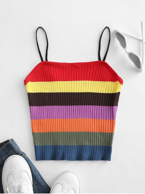 Knitted Colorblock Stripes Cami Top - Multi-a   ZAFUL