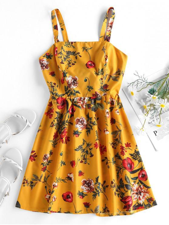 ZAFUL Vestido de Sol con Estampado de Plantas con Nudo en Espalda - Amarilla de Abeja  M