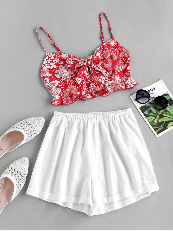 chic ZAFUL Plant Print Knot Smocked Two Piece Set - LAVA RED XL