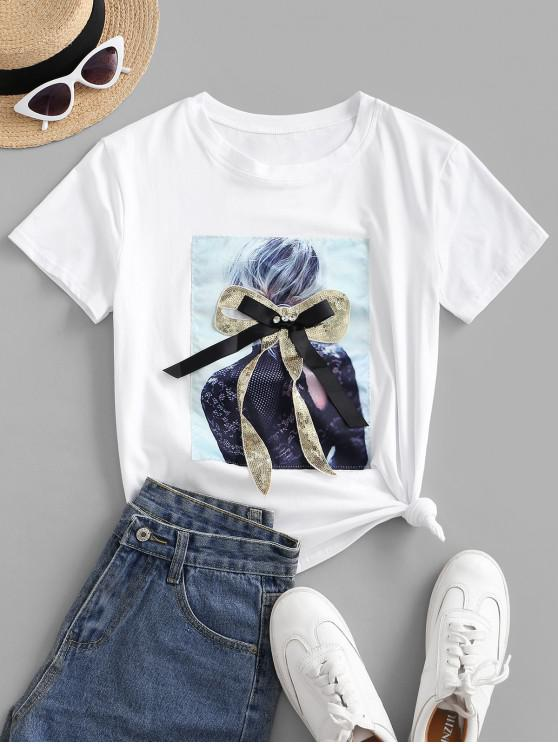 lady Sequined Bowknot Figure Patch Tee - WHITE L