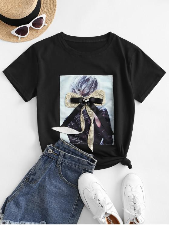 hot Sequined Bowknot Figure Patch Tee - BLACK S