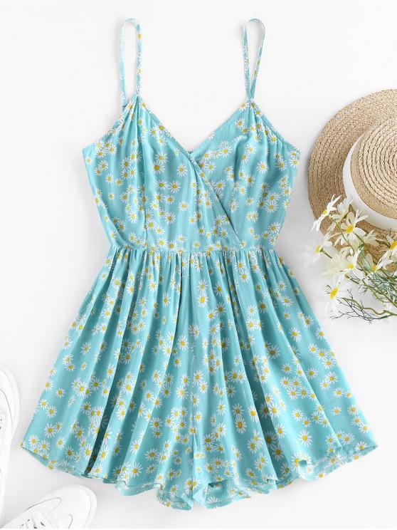 outfits ZAFUL Daisy Print Smocked Surplice Romper - BLUE HOSTA M