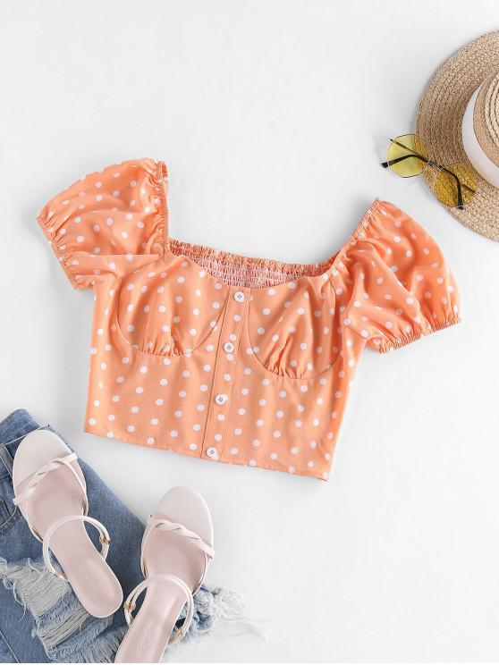 ZAFUL Polka Dot Puff Sleeve Crop Blouse - القرع البرتقال S