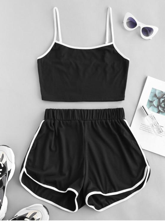 trendy ZAFUL Ringer Sporty Cami Top And Dolphin Shorts Set - BLACK S