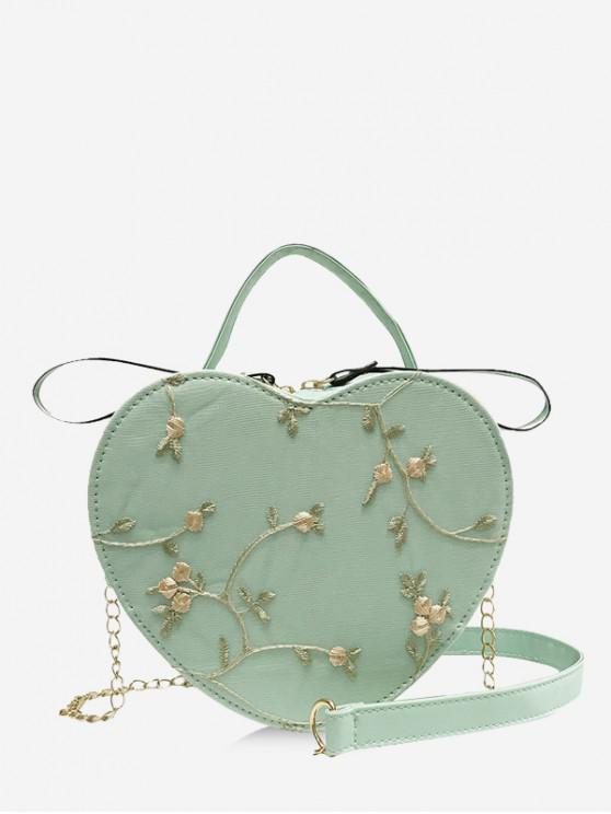 outfit Heart Shape Embroidery Crossbody Bag - LIGHT GREEN