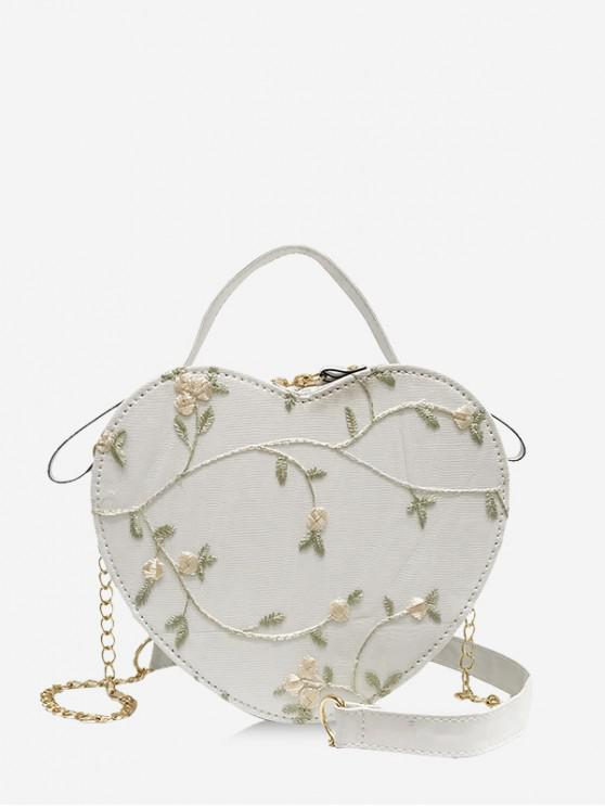 new Heart Shape Embroidery Crossbody Bag - WHITE