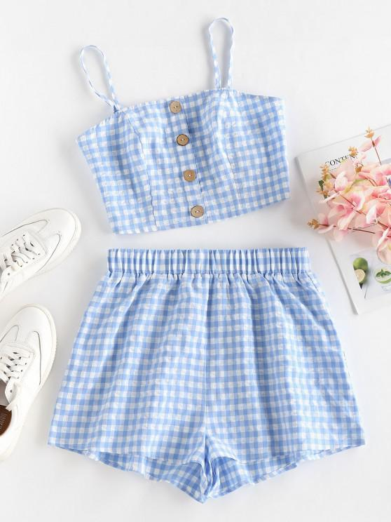 fancy ZAFUL Gingham Mock Button High Waisted Shorts Set - LIGHT BLUE S