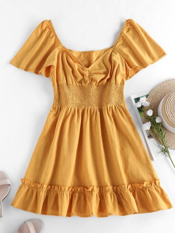 best ZAFUL Smocked Ruffle Flutter Sleeve Mini Dress - YELLOW S