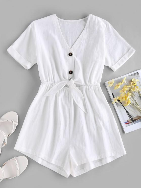 outfits ZAFUL Tied V Neck Rolled Cuffs Wide Leg Romper - WHITE S