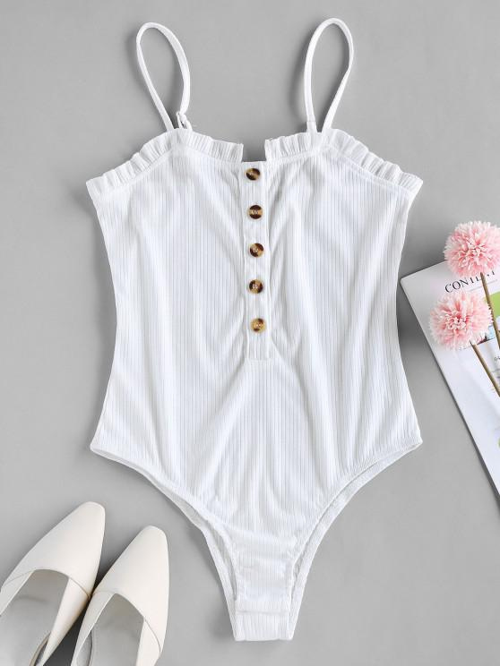 trendy ZAFUL Button Placket Frilled Ribbed Bodysuit - WHITE L