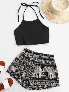 Halter Tie Back Elephant Print Two Piece Set - Black S