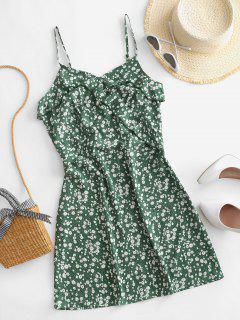 ZAFUL Ruffles Ditsy Floral Cami Mini Dress - Shamrock Green S
