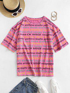 T-shirt Lâche Lettre Graphique à Goutte Epaule - Rose L