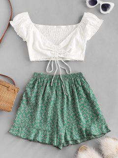 Ditsy Print Cinched Ruffle Loose Shorts Set - Clover Green L