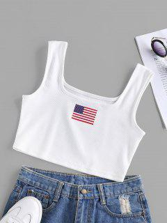 ZAFUL Patriotic American Flag Ribbed Crop Tank Top - White M