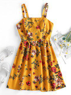 ZAFUL Vestido De Sol Con Estampado De Plantas Con Nudo En Espalda - Amarilla De Abeja  S