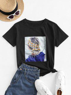Sequined Figure Patch Tee - Black L