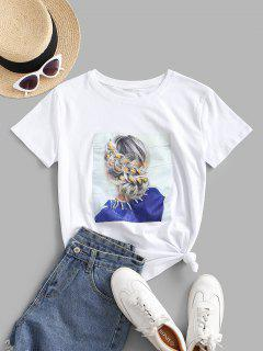 Sequined Figure Patch Tee - White Xl