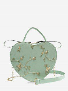Heart Shape Embroidery Crossbody Bag - Light Green