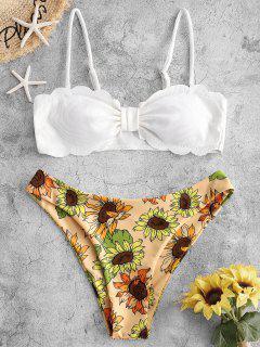 ZAFUL Scalloped Sunflower Bow Ribbed Bikini Swimwear - Bright Yellow M