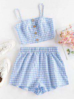 ZAFUL Gingham Mock Button High Waisted Shorts Set - Light Blue S