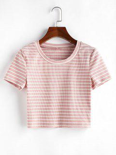 ZAFUL Striped Print Crop T Shirt - Pink S