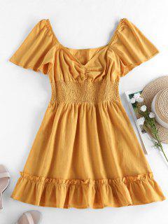 ZAFUL Mini Vestido De Vaina Con Volantes De Smocked - Amarillo S