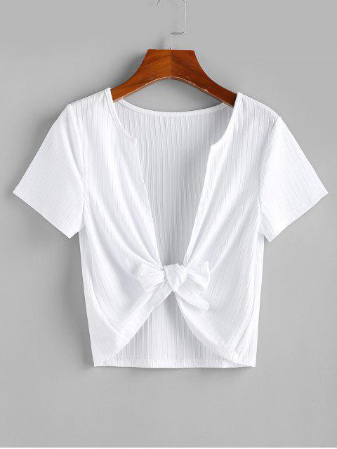 shops ZAFUL Knitted Plunging Tie Front Top - WHITE L Mobile